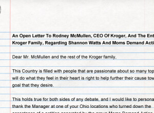 An Open Letter To Rodney McMullen, CEO Of Kroger, And The Entire Kroger Family, Regarding Shannon Watts And Moms Demand Action