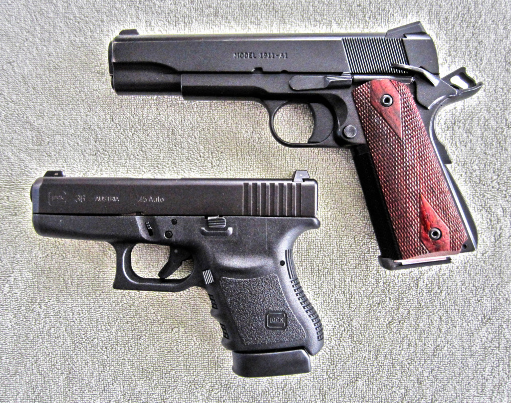 Fig 1 Glock 36 and 1911